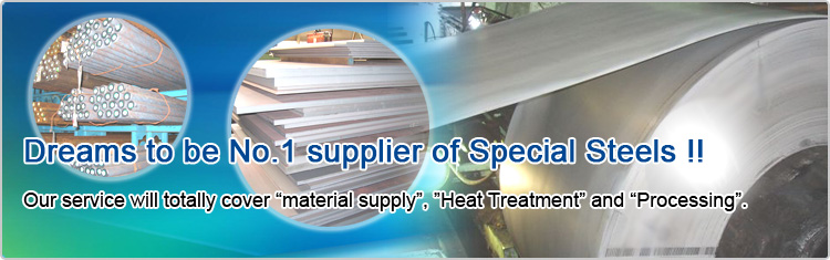 Dreams to be No.1 supplier of Special Steels !! Our service will totally cover